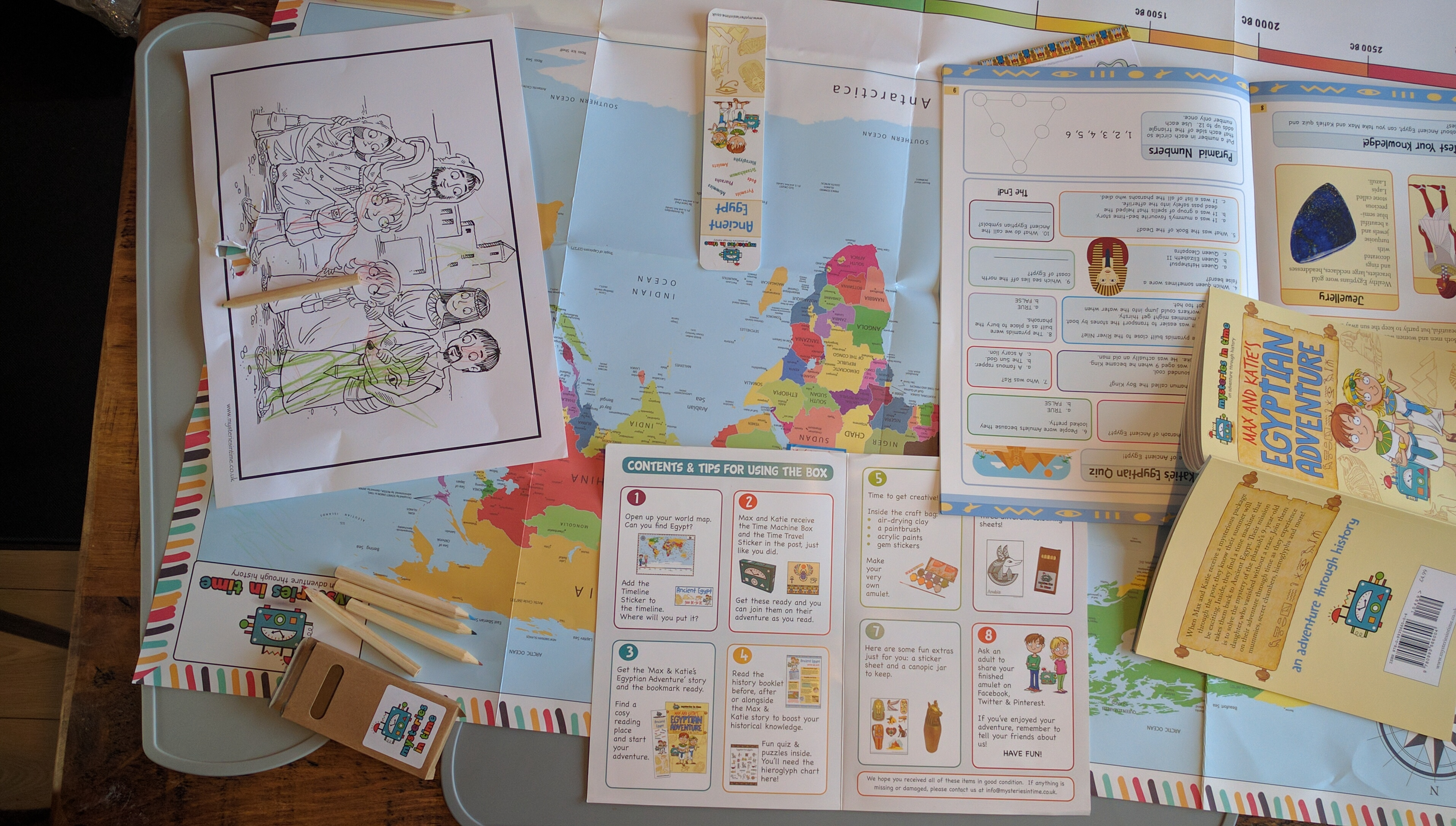 Firstly we used the map to locate Egypt and put a sticker on the timeline for ancient Egypt. Tycho enjoyed the map bit as he is a keen map fan. & letchworthmums.co.uk | for mums in Letchworth